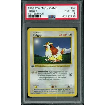 Pokemon Base Set 1st Edition Shadowless Pidgey 57/102 PSA 8