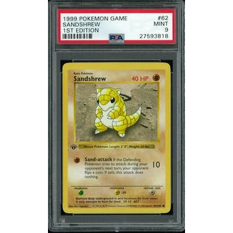 Pokemon Base Set 1st Edition Shadowless Sandshrew 62/102 PSA 9
