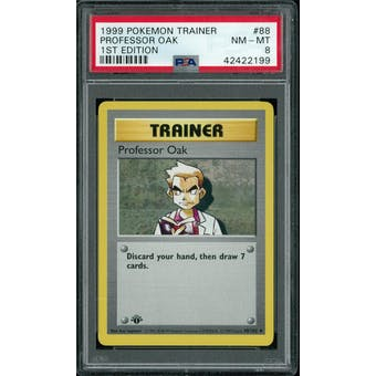 Pokemon Base Set 1st Edition Shadowless Professor Oak 88/102 PSA 8