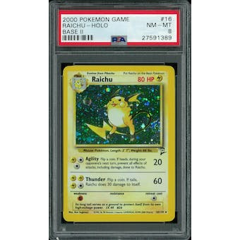 Pokemon Base Set 2 Raichu 16/130 PSA 8