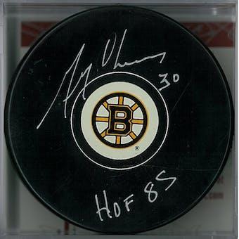 Gerry Cheevers Autographed Boston Bruins Hockey Puck HOF 85 (JSA COA)