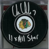 Chris Chelios Autograhed Chicago Black Hawks Puck (JSA COA)