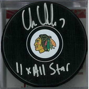 Chris Chelios Autographed Chicago Blackhawks Puck (JSA COA)