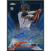 2018 Topps Chrome #RARA Ronald Acuna Blue Wave Refractor Rookie Auto #065/150