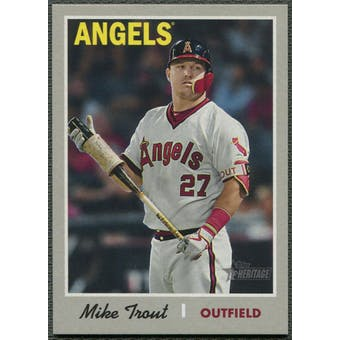 2019 Topps Heritage #485 Mike Trout Throwback Variation SSP