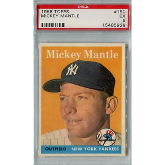 1958 Topps Baseball #150 Mickey Mantle PSA 5 (EX) *5928