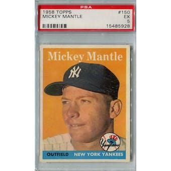 1958 Topps Baseball #150 Mickey Mantle PSA 5 (EX) *5928