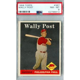 1958 Topps Baseball #387 Wally Post PSA 8 (NM-MT) *8913
