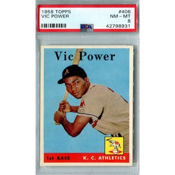 1958 Topps Baseball #406 Vic Power PSA 8 (NM-MT) *8931