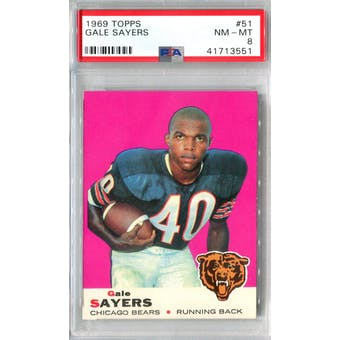 1969 Topps Football #51 Gale Sayers PSA 8 (NM-MT) *3551