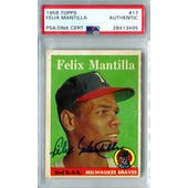 1958 Topps Baseball #17 Felix Mantilla PSA/DNA Authentic Signed Auto *3495