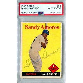 1958 Topps Baseball #93 Sandy Amoros PSA/DNA Authentic Signed Auto *3401