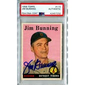 1958 Topps Baseball #115 Jim Bunning PSA/DNA Authentic Signed Auto *7232