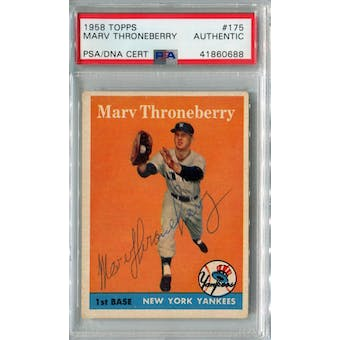 1958 Topps Baseball #175 Marv Throneberry PSA/DNA Authentic Signed Auto *0688