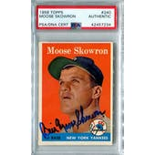 1958 Topps Baseball #240 Moose Skowron PSA/DNA Authentic Signed Auto *7234