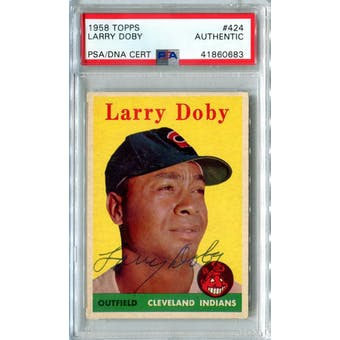 1958 Topps Baseball #424 Larry Doby PSA/DNA Authentic Signed Auto *0683