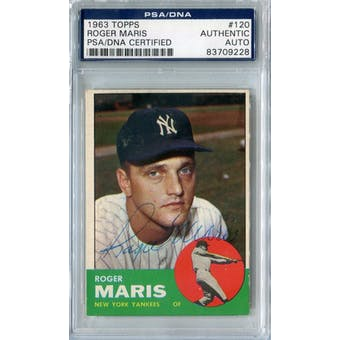 1963 Topps Baseball #120 Roger Maris PSA/DNA Signed Auto *9228