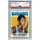 1971/72 Topps Basketball #29 Nate Archibald RC PSA/DNA Authentic Signed Auto *5975