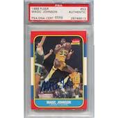 1986/87 Fleer Basketball #53 Magic Johnson PSA/DNA Authentic Signed Auto *9513