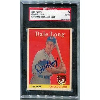 1958 Topps Baseball #7 Dale Long SGC A Signed Auto *4091