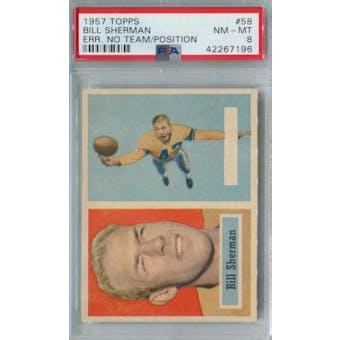 1957 Topps Football #58 Bill Sherman No Team/Position PSA 8 (NM-MT) *7196