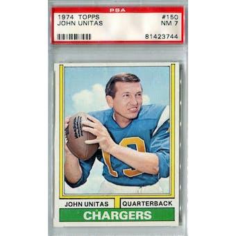 1974 Topps Football #150 Johnny Unitas PSA 7 (NM) *3744
