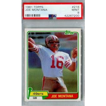 1981 Topps Football #216 Joe Montana RC PSA 9 (Mint) *7200