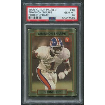 1990 Action Packed Football #46 Shannon Sharpe Rookie PSA 10 (GEM MT)