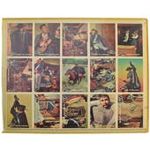 1958 Topps Zorro Uncut Sheet. 15 cards, #88 and #29 present