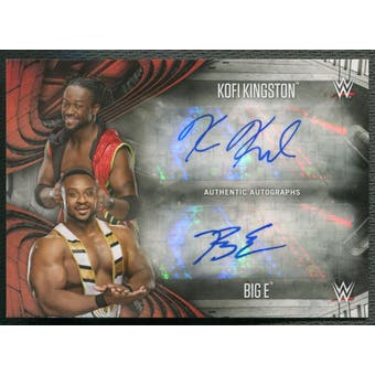 2017 Topps WWE Road to WrestleMania #5 Kofi Kingston & Big E Dual Auto #07/10