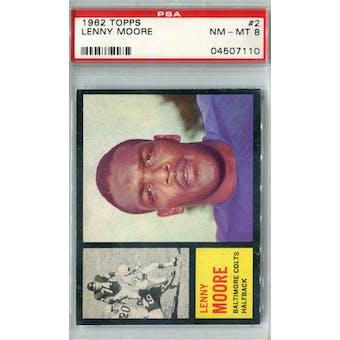 1962 Topps Football #2 Lenny Moore PSA 8 (NM-MT) *7110 (Reed Buy)