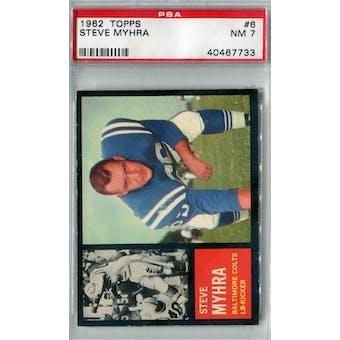 1962 Topps Football #6 Steve Myhra PSA 7 (NM) *7733