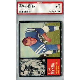 1962 Topps Football #6 Steve Myhra PSA 7 (NM) *3116