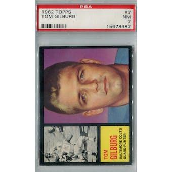 1962 Topps Football #7 Tom Gilburg SP PSA 7 (NM) *8987