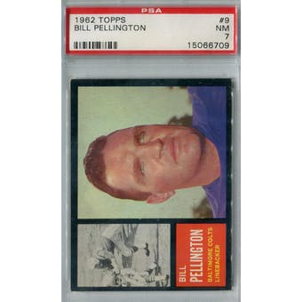 1962 Topps Football #9 Bill Pellington PSA 7 (NM) *6709