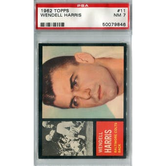 1962 Topps Football #11 Wendell Harris SP PSA 7 (NM) *9846