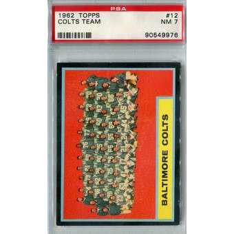 1962 Topps Football #12 Baltimore Colts Team PSA 7 (NM) *9976