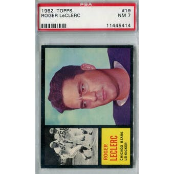 1962 Topps Football #19 Roger LeClerc PSA 7 (NM) *5414