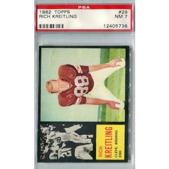 1962 Topps Football #29 Rich Kreitling PSA 7 (NM) *5738