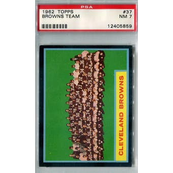 1962 Topps Football #37 Cleveland Browns Team PSA 7 (NM) *5859