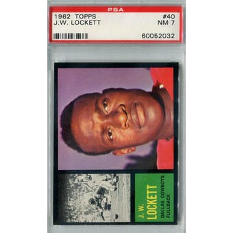 1962 Topps Football #40 J.W. Lockett SP PSA 7 (NM) *2032