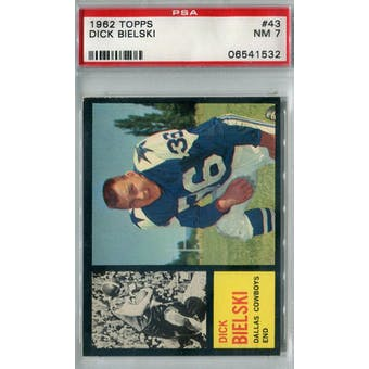 1962 Topps Football #43 Dick Bielski PSA 7 (NM) *1532
