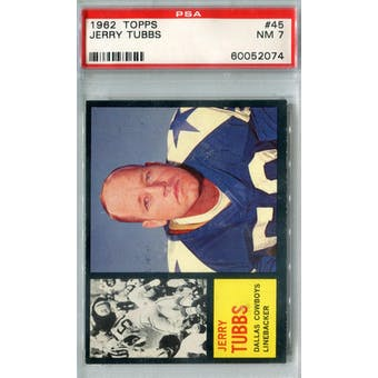 1962 Topps Football #45 Jerry Tubbs SP PSA 7 (NM) *2074 (Reed Buy)