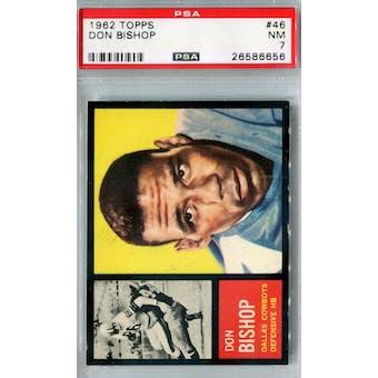 1962 Topps Football #46 Don Bishop SP PSA 7 (NM) *6656