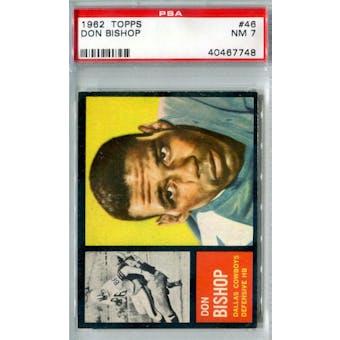 1962 Topps Football #46 Don Bishop SP PSA 7 (NM) *7746