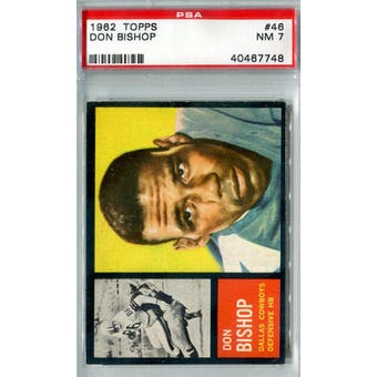 1962 Topps Football #46 Don Bishop SP PSA 7 (NM) *7746 (Reed Buy)