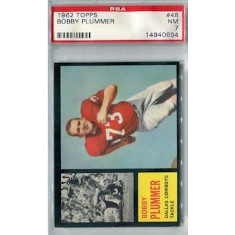 1962 Topps Football #48 Bobby Plummer SP PSA 7 (NM) *0694 (Reed Buy)