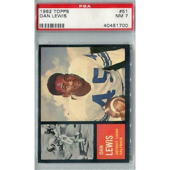 1962 Topps Football #51 Dan Lewis PSA 7 (NM) *1700