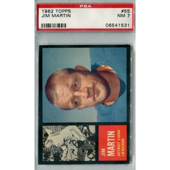 1962 Topps Football #55 Jim Martin PSA 7 (NM) *1531
