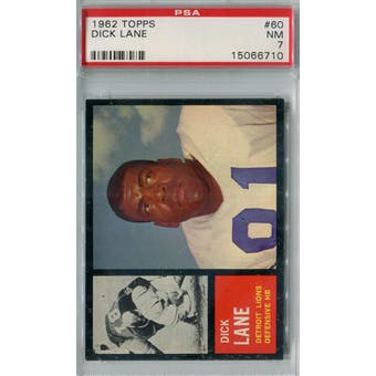 1962 Topps Football #60 Dick Lane PSA 7 (NM) *6710